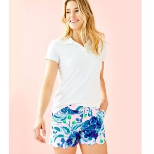 NWT Lilly MEREDITH Short Sleeve Polo White
